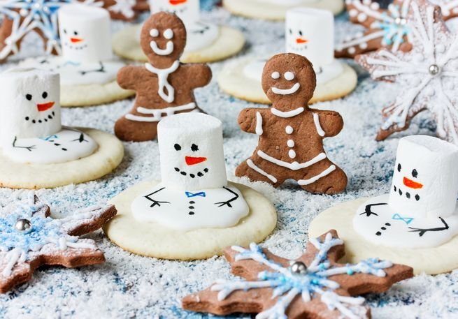Christmas Cookies – melting snowman, gingerbread man, snowflake